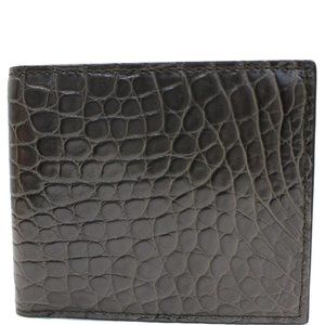 GUCCI BI-FOLD CROCODILE LEATHER WALLET BLACK 36548